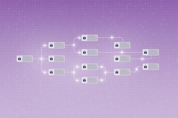 Il concetto di blockchain sullo schermo come un registro decentralizzato sicuro per la tecnologia finanziaria di criptovaluta