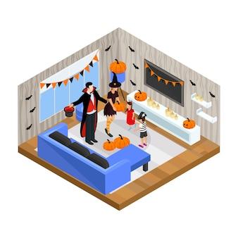Il concetto di celebrazione felice isometrico di halloween con la famiglia che indossa i costumi festivi celebra la festa a casa isolata