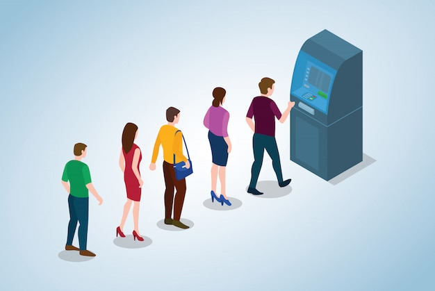 Il concetto di coda di bancomat con gli uomini e la donna della gente che accodano incassa il denaro contante con stile piano moderno e 3d isometrico