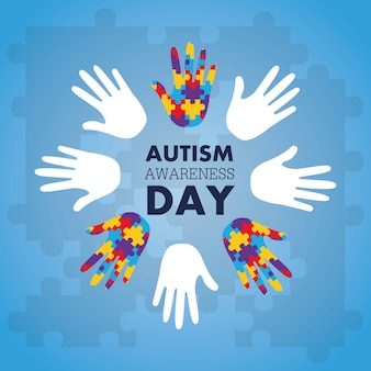 Il concetto di consapevolezza di autismo con la mano di puzzle collega come simbolo