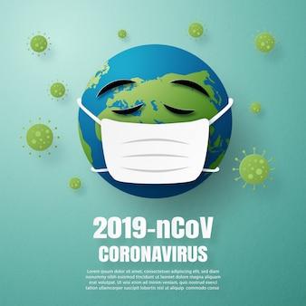 Il concetto di coronavirus è il mondo che indossa una maschera per proteggere le malattie