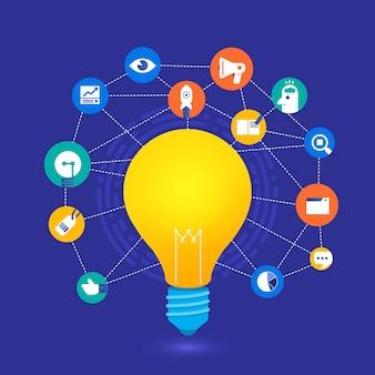 Il concetto di design piatto crea una grande idea con la lampadina.