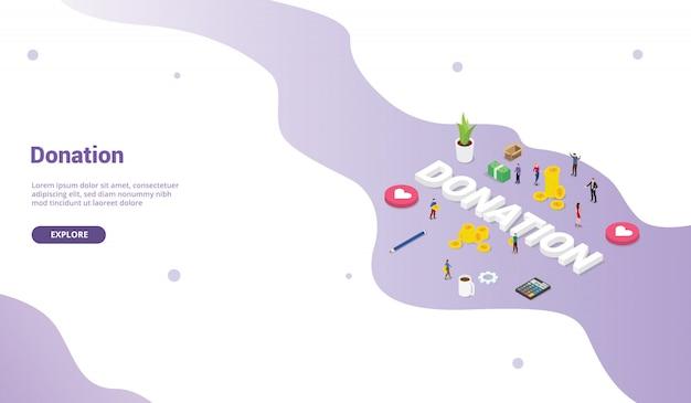 Il concetto di donazione con la gente della squadra dà i soldi o condividi per la homepage di atterraggio moderna del modello del sito web
