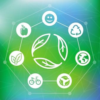 Il concetto di ecologia di vettore con ricicla l'emblema - fondo verde astratto