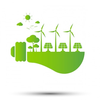 Il concetto di ecologia, il mondo è nel verde della lampadina economizzatrice d'energia, illustrazione di vettore