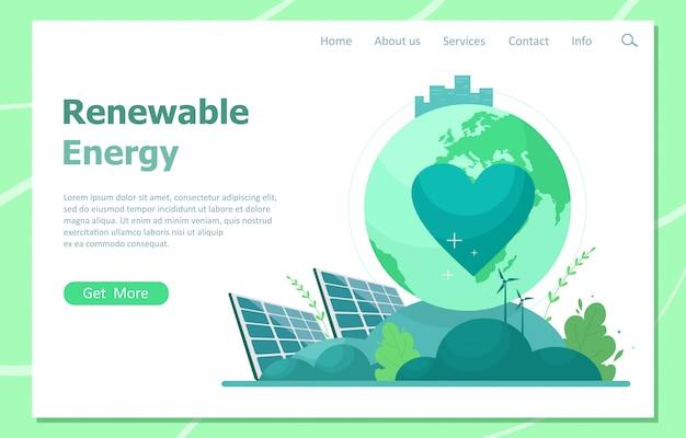 Il concetto di energia rinnovabile dal sole e dalle turbine eoliche. pagina di destinazione delle risorse energetiche verdi. illustrazione in uno stile piatto.