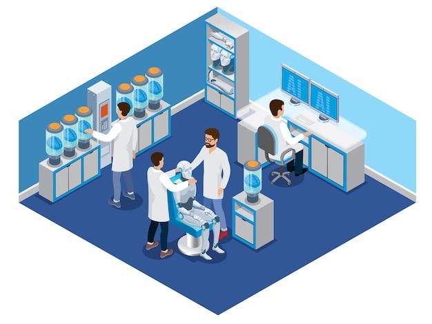 Il concetto di intelligenza artificiale isometrica con gli scienziati crea robot e cyborg in laboratorio isolato