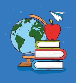 Il concetto di istruzione, i libri sul mucchio con la frutta della mela e l'illustrazione di vettore dell'aeroplano di carta progettano