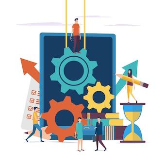 Il concetto di lavorare su un progetto imprenditoriale.