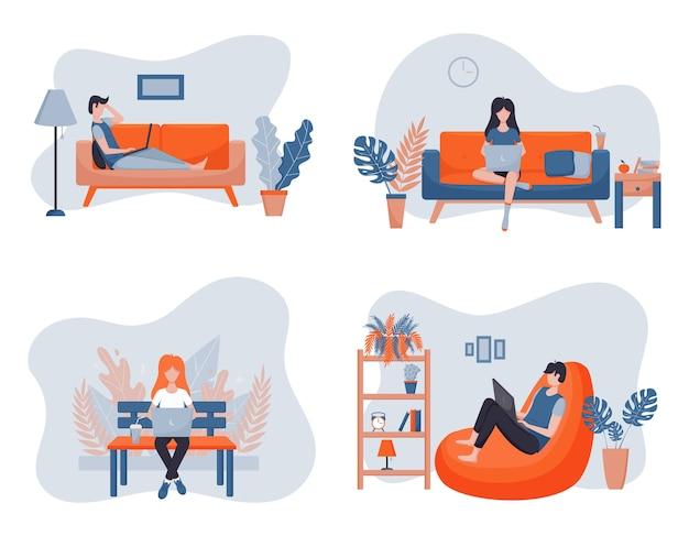 Il concetto di lavoro a distanza. i liberi professionisti lavorano a casa