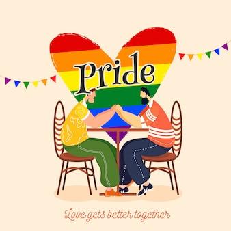 Il concetto di pride day per la comunità lgbtq con le coppie gay che si tengono per mano