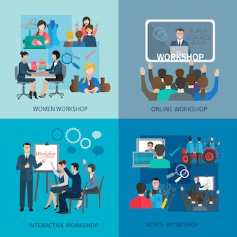 Il concetto di progetto dell'officina ha messo con le icone piane online di lavoro di squadra interattivo degli uomini delle donne