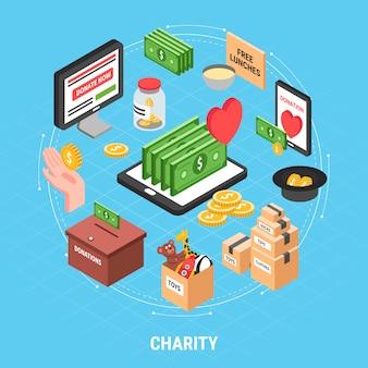 Il concetto di progetto isometrico della carità con il cartone delle banconote in dollari dei vestiti e la scatola per la raccolta delle donazioni vector l'illustrazione