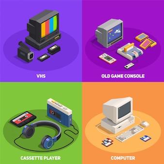 Il concetto di progetto isometrico variopinto 2x2 con vari retro aggeggi come la console del giocatore di computer vhs 3d ha isolato