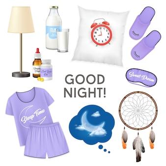 Il concetto di progetto realistico della buona notte con la sveglia sulle icone isolate pantofole dei pigiami del bicchiere di latte del cuscino ha messo l'illustrazione