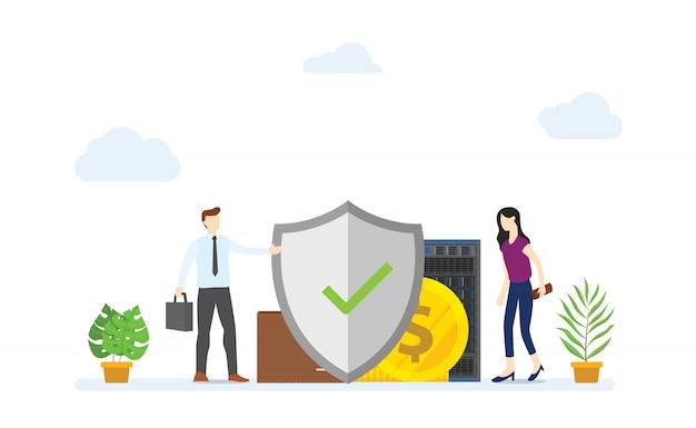 Il concetto di protezione aziendale con grande scudo protegge con denaro e dati per garantire un moderno stile piatto