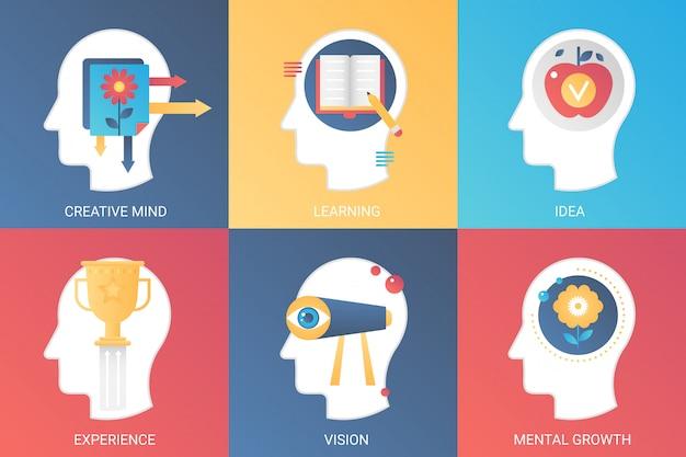 Il concetto di vettore dirige la mente creativa, l'apprendimento, l'idea, la visione dell'esperienza, la crescita mentale. stile piatto moderno sfumato