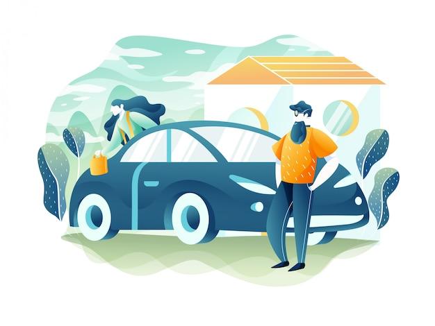 Il concetto di viaggio e turismo. una giovane coppia si sta preparando per una vacanza in auto