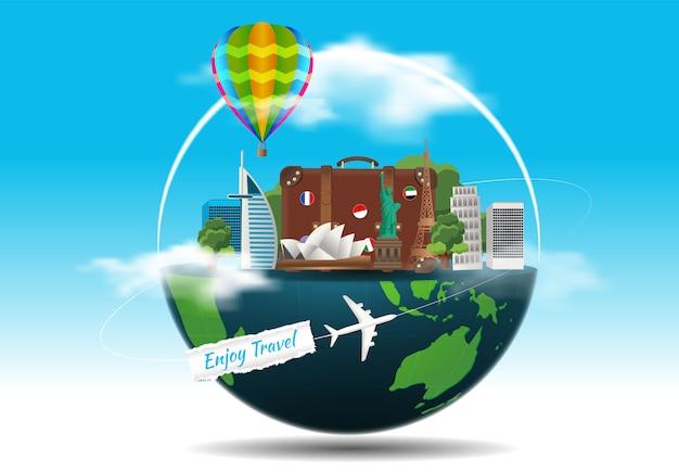 Il concetto di viaggio. famosi monumenti del mondo