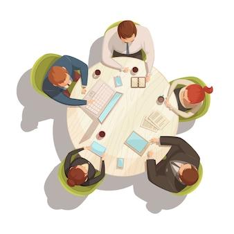 Il concetto di vista superiore del fumetto di riunione d'affari con la tavola e la gente vector l'illustrazione