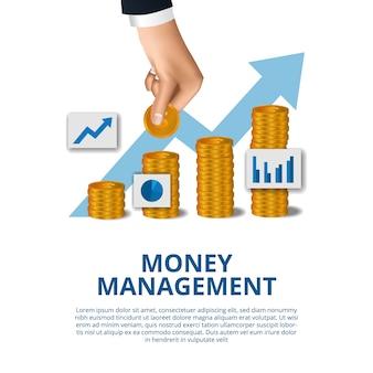 Il concetto economico di affari di crescita della gestione del bilancio di soldi con la mano ha messo in moneta di oro