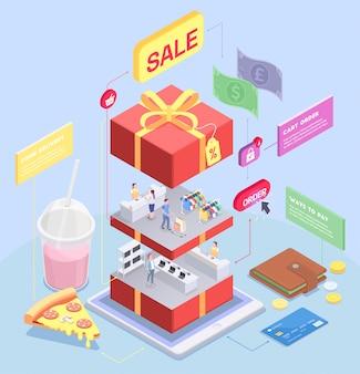 Il concetto isometrico di commercio elettronico di acquisto con l'immagine del contenitore di regalo affettato con i caratteri e le merci umani vector l'illustrazione
