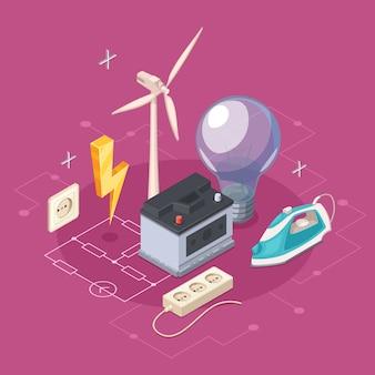 Il concetto isometrico di elettricità con i simboli degli elettrodomestici e dell'utenza vector l'illustrazione