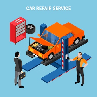 Il concetto isometrico di servizio dell'automobile con diagnostica e gli strumenti vector l'illustrazione