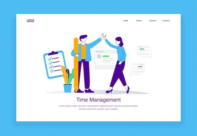 Il concetto moderno dell'illustrazione della gestione di tempo degli uomini e delle donne fa il cinque dopo aver completato con successo le scadenze per il modello della pagina di destinazione