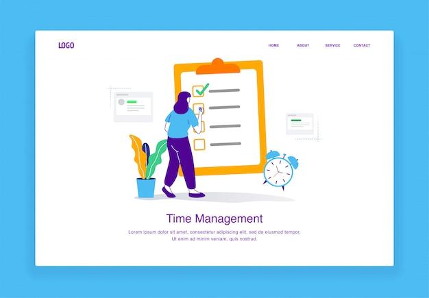 Il concetto moderno dell'illustrazione della gestione di tempo della donna sta controllando la sua lista di lavoro per il modello della pagina di atterraggio
