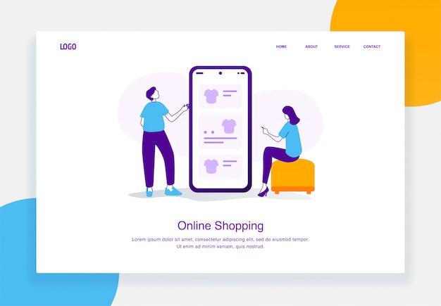 Il concetto moderno dell'illustrazione di commercio elettronico degli uomini e delle donne sta scegliendo le magliette in un catalogo online mobile per il modello della pagina di atterraggio