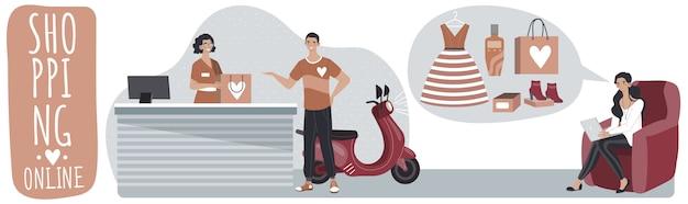 Il concetto online di affari di acquisto, immagazzina con la consegna, l'uomo e la donna comprano le cose in negozio online sull'illustrazione del computer portatile.