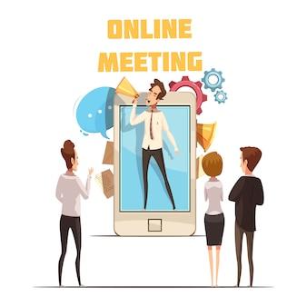 Il concetto online di riunione con lo schermo dello smartphone e la gente del fumetto vector l'illustrazione