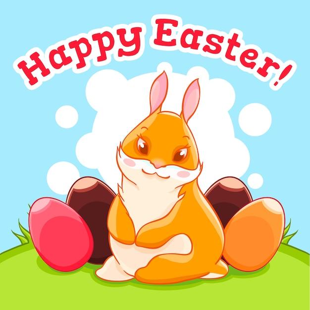 Il coniglietto pasquale nel prato. caccia all'uovo