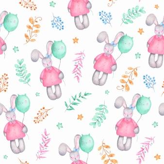 Il coniglietto sveglio della ragazza di pasqua felice senza cuciture dell'acquerello del modello con gli aerostati fiorisce