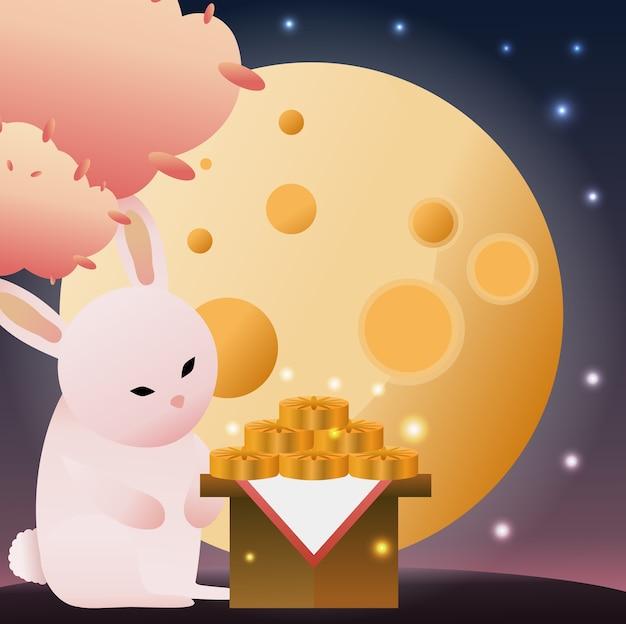 Il coniglio guarda la luna mentre mangia la torta di luna