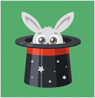 Il coniglio si nascose in un cappello a cilindro. il mago mostra un trucco. illustrazione vettoriale di una lepre e magia.