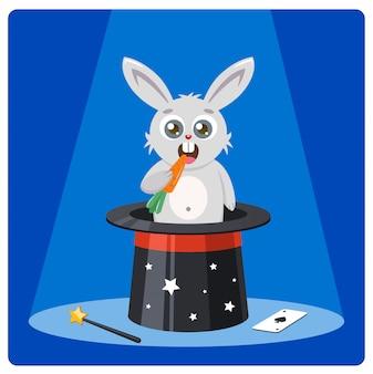 Il coniglio sveglio in un cappello magico rosicchia l'illustrazione delle carote
