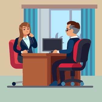 Il consulente e la donna di seduta dell'uomo d'affari si incontrano per intervistare il concetto di vettore di lavoro di conversazione