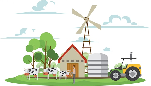 Il contadino è in piedi davanti al fienile con le mucche