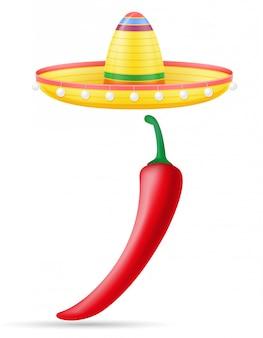Il copricapo messicano nazionale del sombrero e l'illustrazione di vettore del peper
