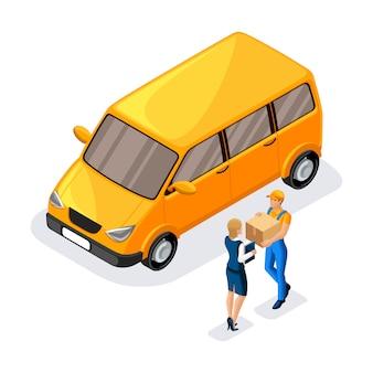 Il corriere consegna un pacco a una donna d'affari, un addetto al servizio di consegna consegna un ordine vicino a una macchina da lavoro. express, home, consegna veloce, spedizione