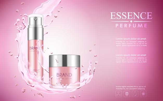 Il cosmetico deride con acqua versa gli elementi su fondo rosa