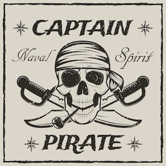 Il cranio di capitano pirata e le spade incrociate disegnano l'illustrazione di lerciume