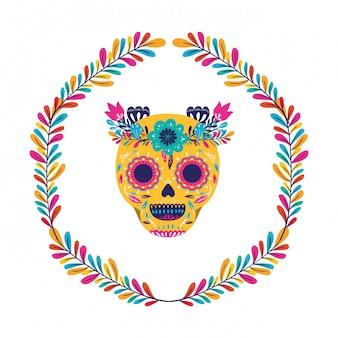 Il cranio messicano con i fiori incorona la progettazione, il latino del punto di riferimento di turismo della cultura del messico e l'illustrazione di vettore di tema del partito