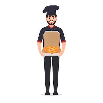 Il creatore della pizza tiene l'illustrazione di vettore della pizza