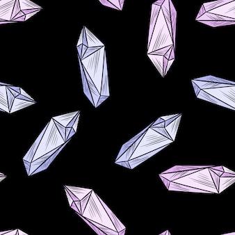 Il cristallo scarabocchia il modello senza cuciture. carta da parati ametista quarzo simpatico cartone animato. mattonelle accoglienti del fondo di struttura del modello di stile di boho