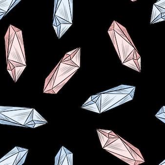 Il cristallo scarabocchia il modello senza cuciture. carta da parati ametista quarzo simpatico cartone animato. mattonelle di struttura modello accogliente stile boho