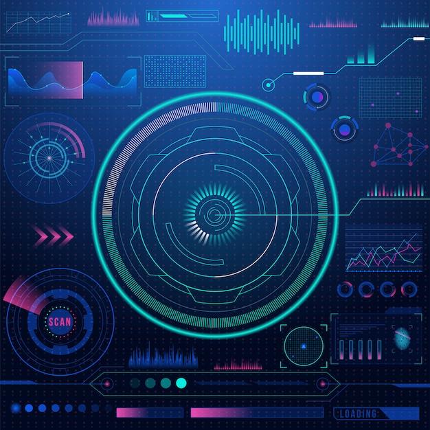 Il cruscotto futuristico di fantascienza mostra il fondo dello schermo della tecnologia di realtà virtuale.