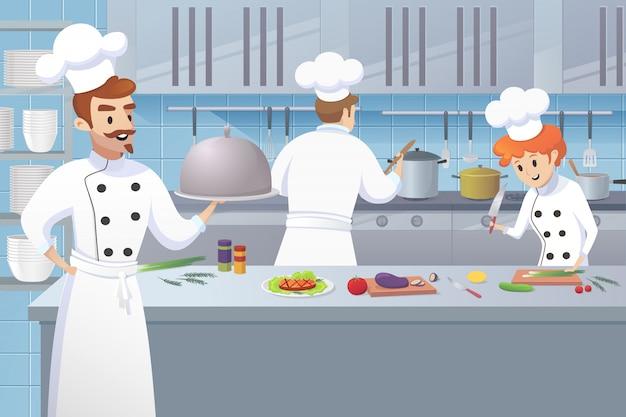 Il cuoco del cuoco unico tiene il vassoio in suoi lavoratori della cucina della mano